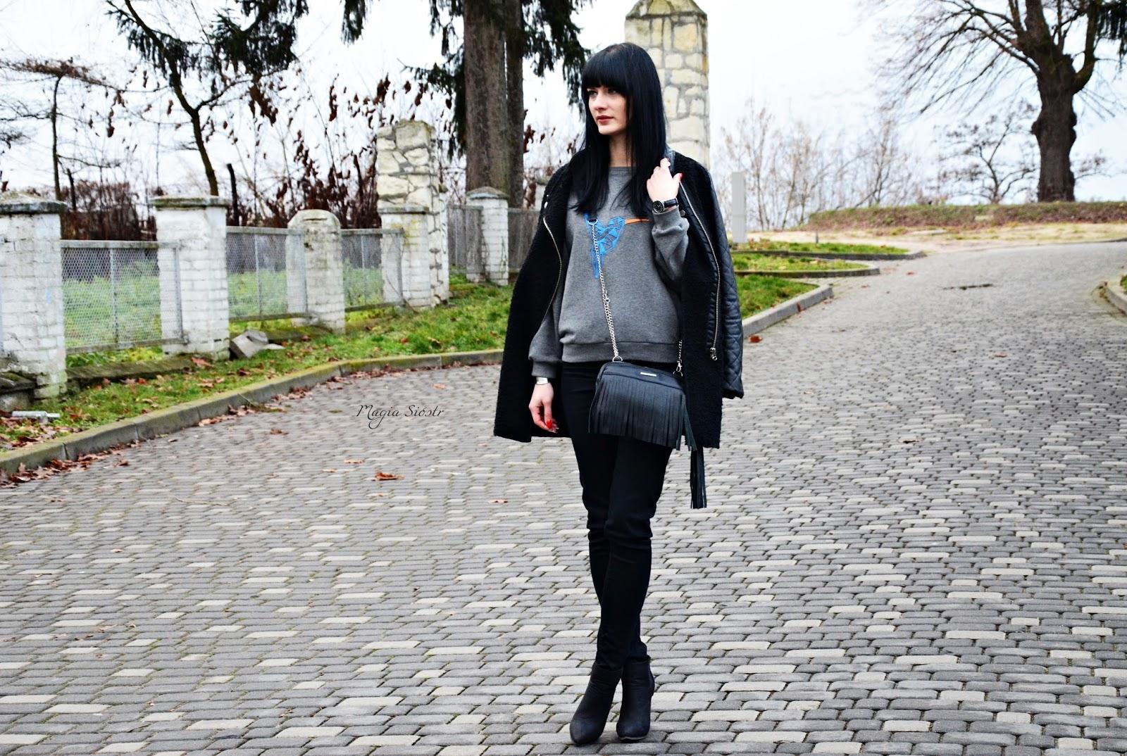 jesienna stylizacja, torebka z frędzlami, płaszcz Sheinside