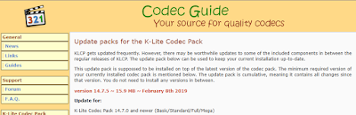 K-Lite Codec Pack 14.7.5 Update