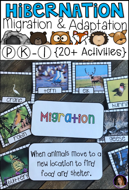 Hibernation, Migration and Adaptation Literacy Activities (PK-1) has all of the hands on writing and literacy centers and activities you will need for your unit.