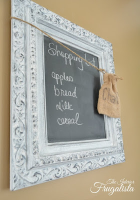 Picture Frame Chalkboard with burlap chalk storage
