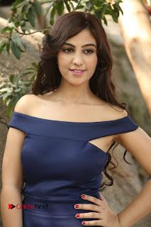 Harshika Singh Stills in a Beautiful Blue Long Dress at Satya Gang Movie Opening