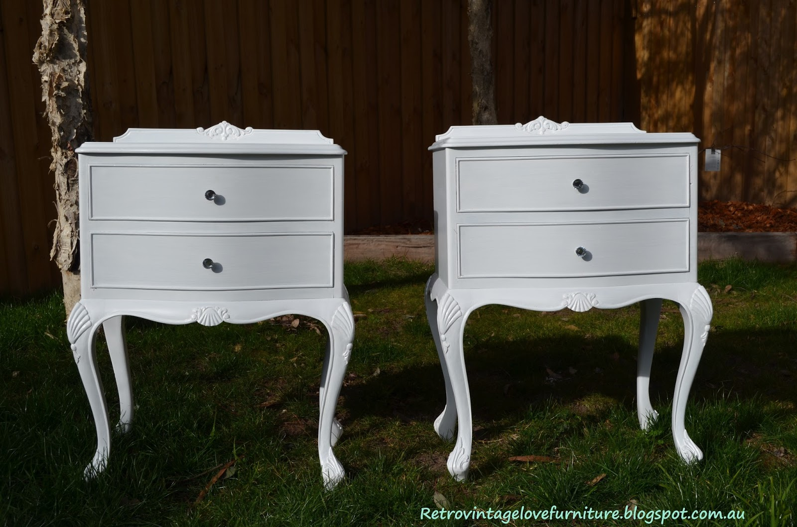 White vintage bedside tables sevenstonesinc retro vintage love queen anne bedside tables painted white watchthetrailerfo