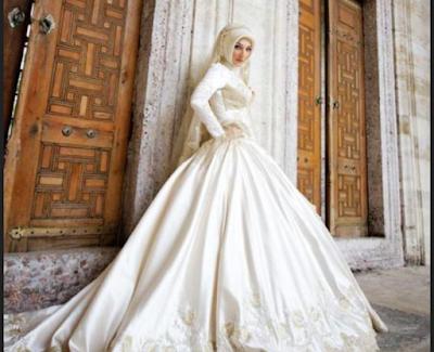 gaun pengantin muslimah ala Eropa