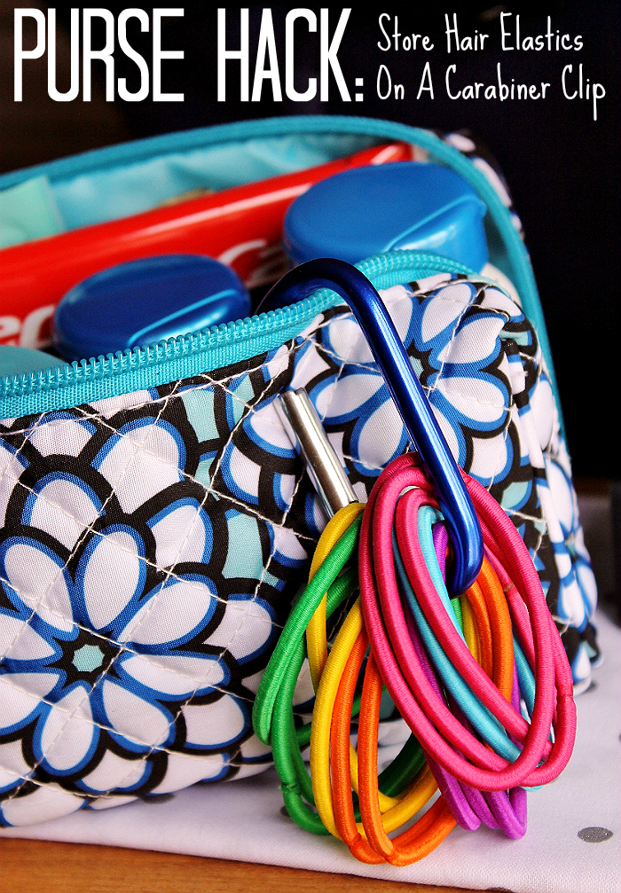 Keep hair ties on a caribiner while traveling- You can also use hair elastics to bundle wet swimsuits together, contain loose cables when traveling (that pesky hair dryer), extend a jean button in a pinch, convert any bra into a racerback for beach or formal wear, fasten hats to backpacks as a makeshift loop tie, child-proof hotel cabinets by tying a hair tie around handles, and much more!   #99YourSummer with these simple Summer Vacation Hacks that'll save you dollars and headaches! #DoingThe99 #AD