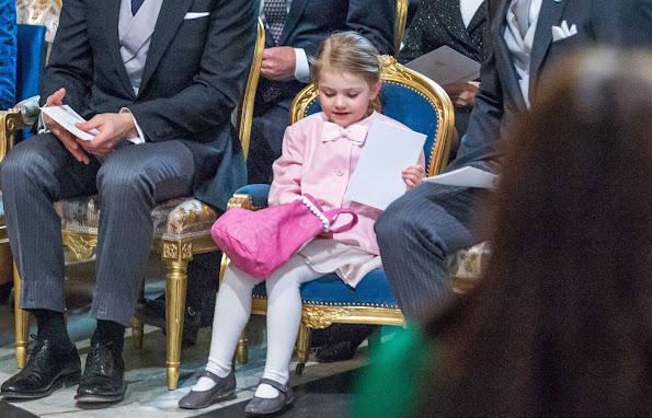 "Princess Estelle of Sweden attended ""Te Deum"" service at Stockholm Royal Chapel for her newborn brother Prince Oscar Carl Olof"