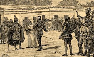 Atahualpa recibe a la delegación española.