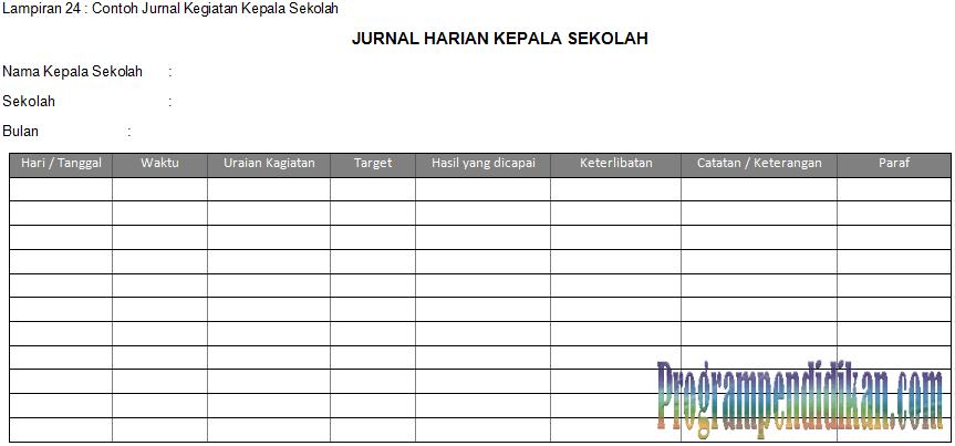 File Pendidikan Contoh Format Jurnal Kegiatan Kepala Sekolah Terbaru