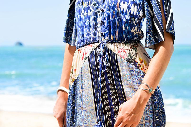 beautiful boho blue print dress mixed aztec print with floral print