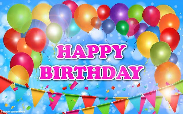 Verjaardag afbeelding met ballonnen, slingers en de tekst happy birthday