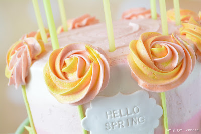 Orange Poppyseed Cake with Strawberry Buttercream, Orange and Pink, Spring, Party, Birthday, Candles