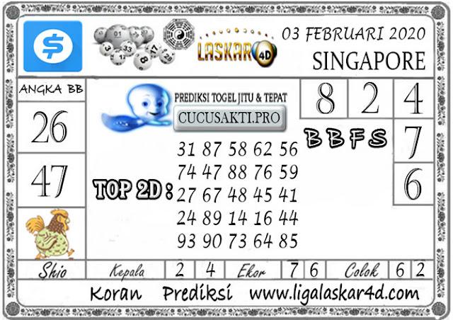 Prediksi Togel SINGAPORE LASKAR4D 03 FEBRUARI 2020
