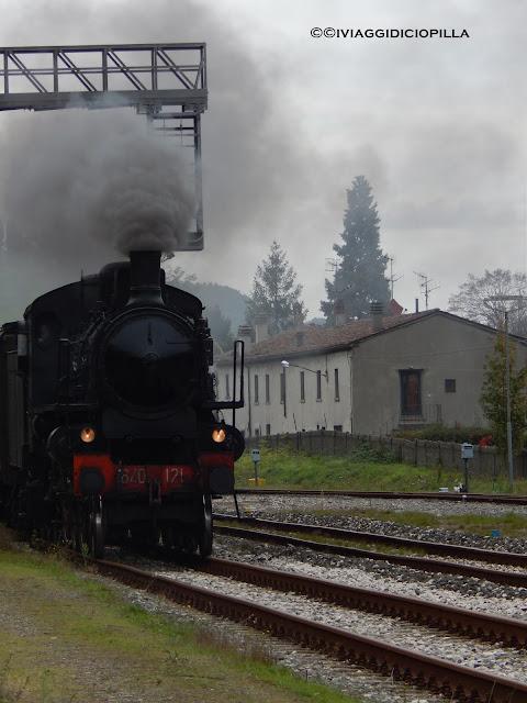 Il treno a vapore in arrivo alla stazione