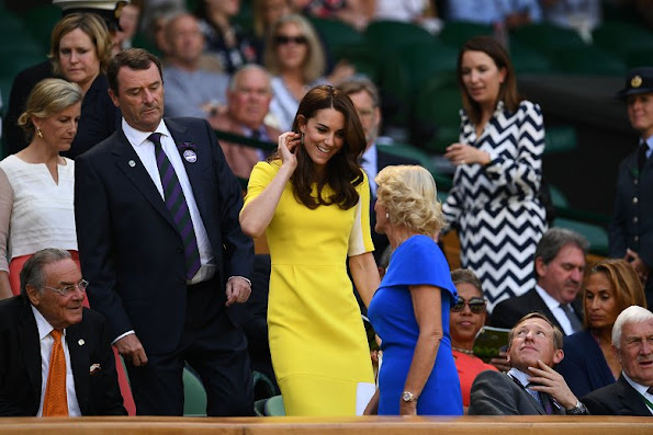 Catherine, the Duchess of Cambridge arrives for the women's semi finals during the Wimbledon Championships at the All England Lawn Tennis Club