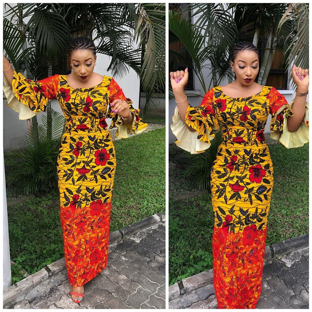 Creative Ankara and Lace Combination | Long Gown Style For Beautiful ...