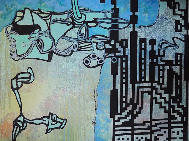 Enric Pascó i Ticó obra expresionista abstracta azul