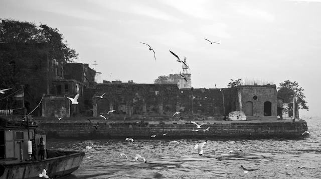 sassoon docks ruins arabian sea seagulls birds fishing boat mumbai india