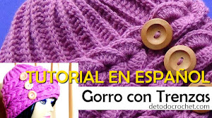 Tutorial de Gorro Crochet con Trenzas horizontales en relieve / Video en español