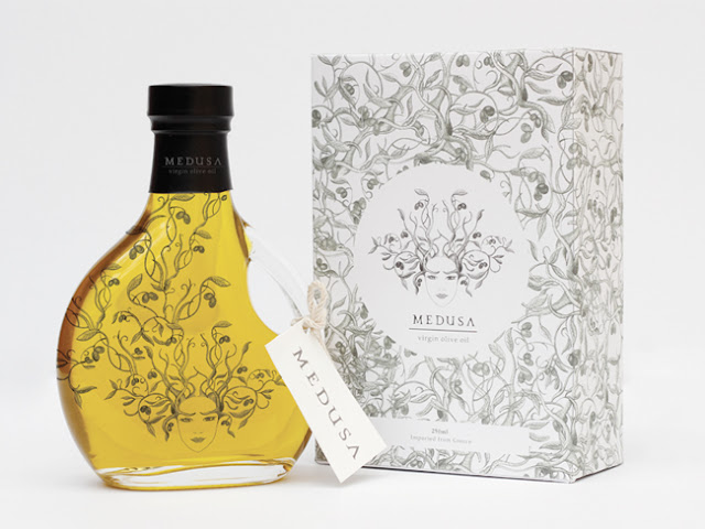 Medusa intricate olive oil label design by Amber Southall