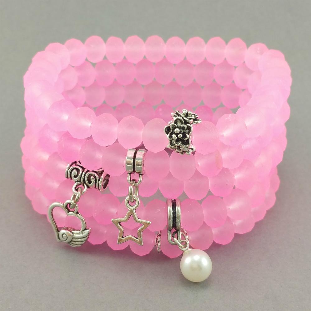 926d88a971f769 Nowa kolekcja bransoletki matowe, różowe kryształki szklane z perełką,  gwiazdką, sercem i kwiatami po 14,99 zł