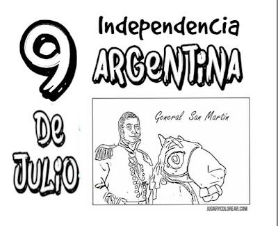 Colorear independencia de Argentina 9 de Julio