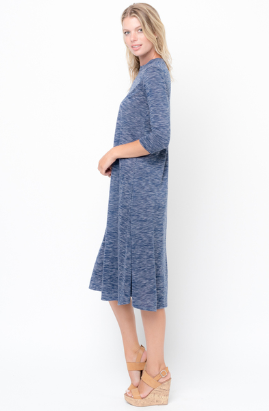 Shop for Navy Swing Midi Dress 3/4 Sleeves Crew Neck Online on Caralase.com