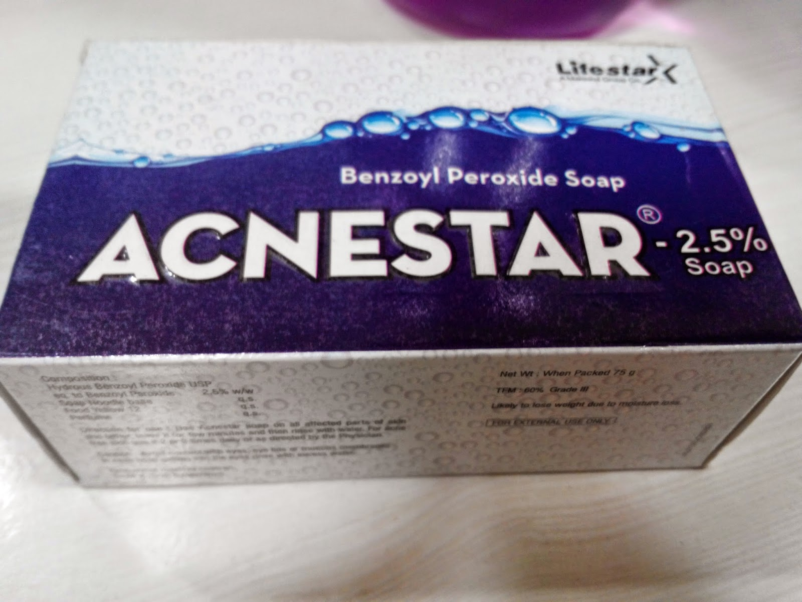 Benzyl peroxide soap, Acnestar, Life star, pimples