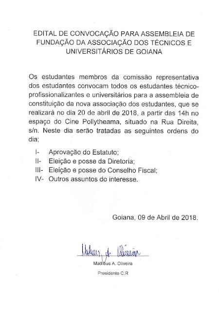 Edital de convocação para assembleia de fundação da associação dos técnicos e universitários de Goiana