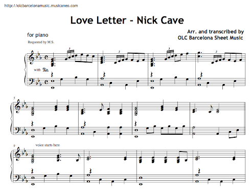 the Whiteboard: (Advanced) Love Letter (by Nick Cave)