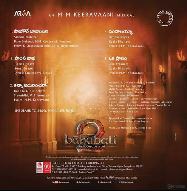 Baahubali 2 Audio Track List