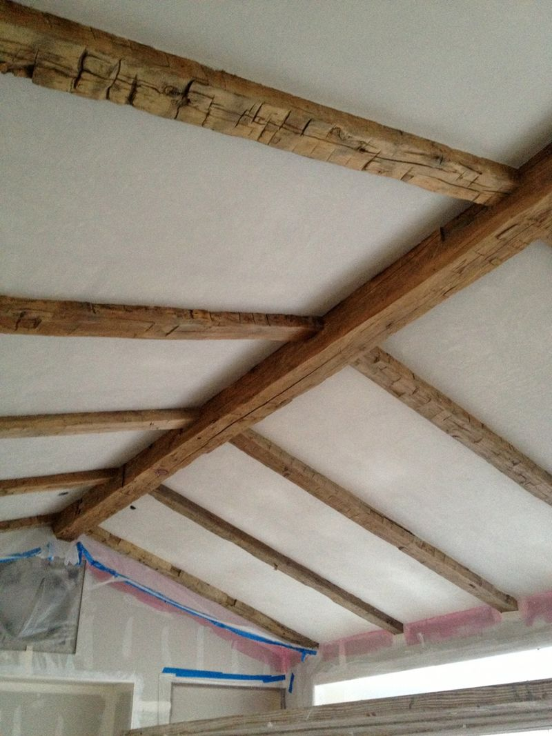 Wood beams on ceiling in before pic of #PatinaFarm