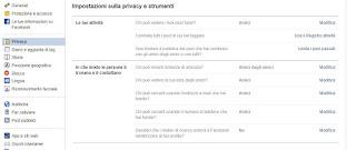 Opzioni Privacy