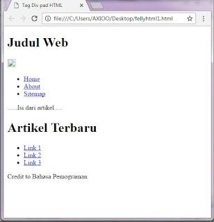 contoh pengunaan span dan div dalam html