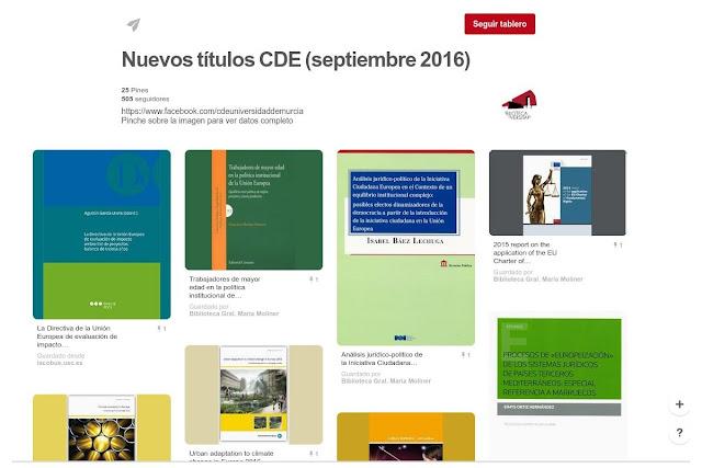 Nuevos títulos en el Centro de Documentación Europeo - Septiembre 2016.