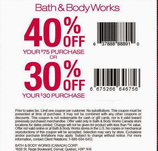 Bath and Body Works Printable Coupons October 2016