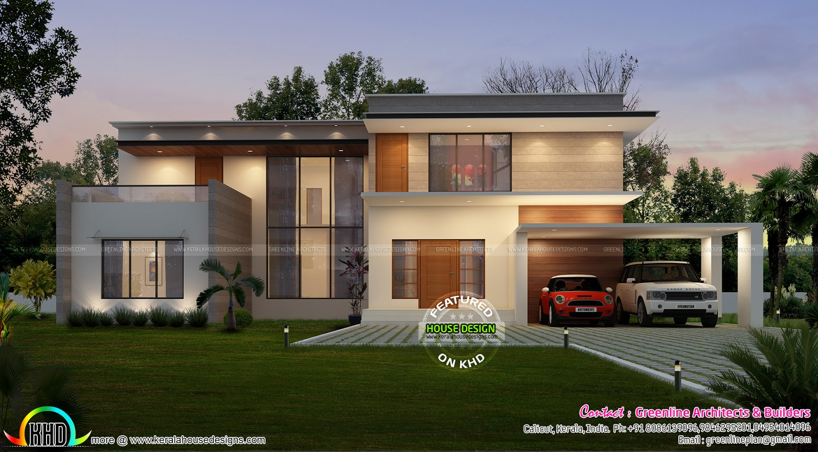 Contemporary house plans kerala for Pictures of modern homes