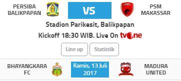 Jadwal Liga 1 Kamis 13 Juli 2017 - Siaran Langsung tvOne