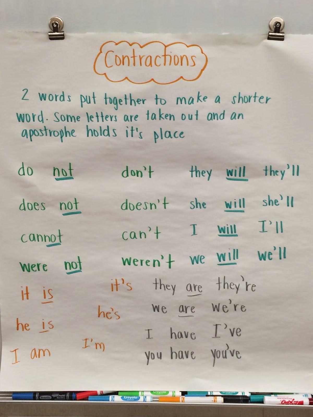 Team J S Second Grade Fun Contractions