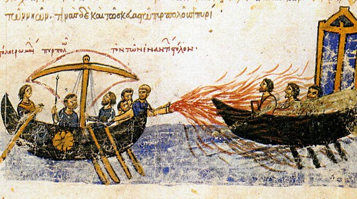 fuego griego, armas de plasma y guerra atómica