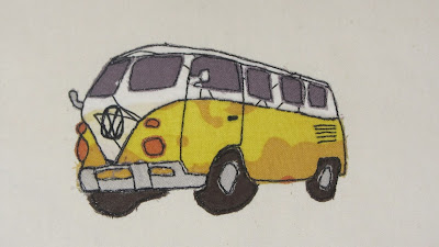 VW camper van free motion embroidery or raw edge applique
