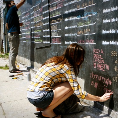 Before I die - wall being used