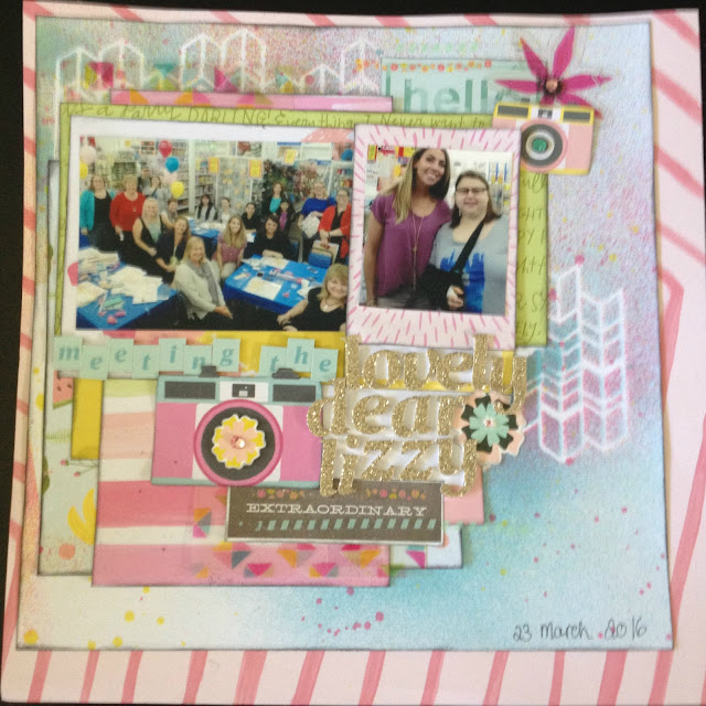 scrapbook page layout american crafts dear lizzy happy place collection layers spray mist stencil