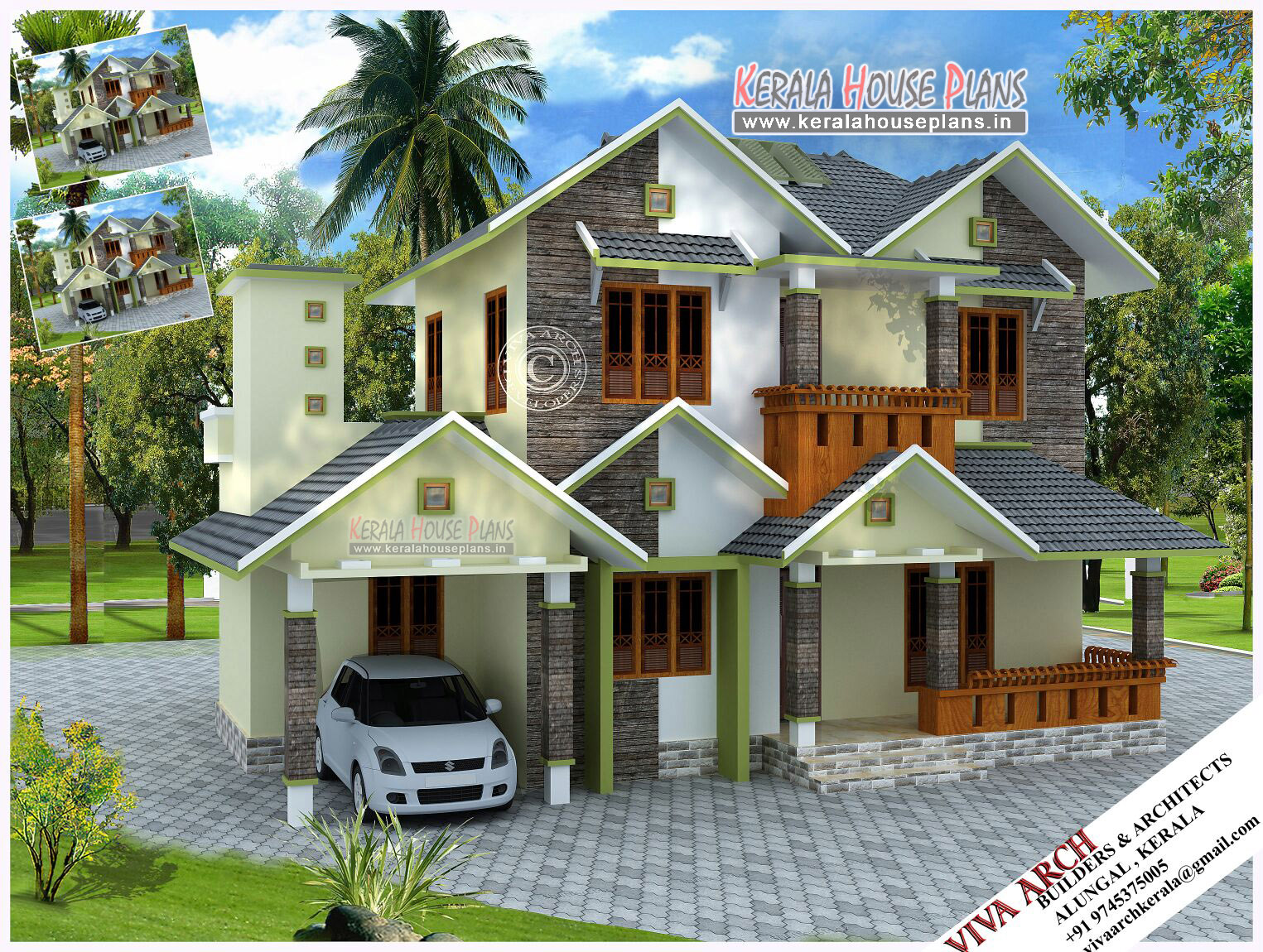 Kerala village style slope roof home design kerala house for House plan and design images