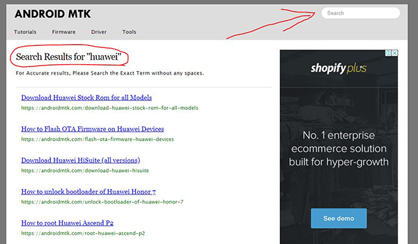 شرح واجهة موقع AndroidMTK