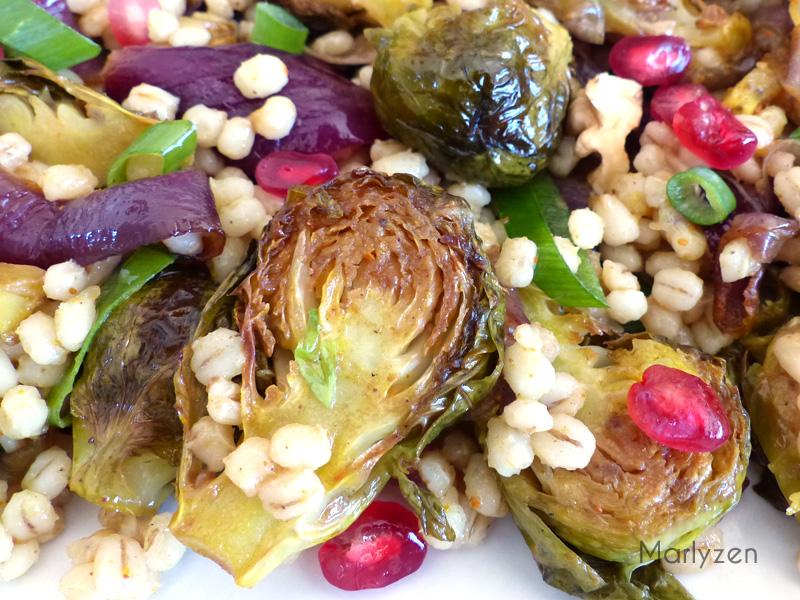 Salade tiède de choux de Bruxelles à l'orge perlé