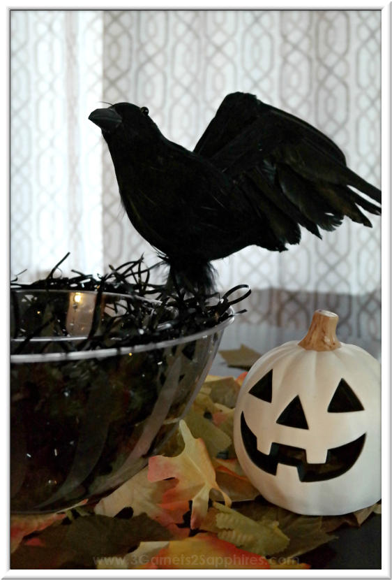 Black Crow Halloween Decorating Ideas  |  3 Garnets & 2 Sapphires