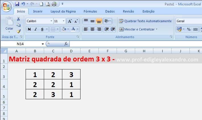 Calculando determinantes de matrizes usando o Excel [matriz quadrada]