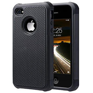 iPhone 4S Case, iPhone 4 Case, ULAK KNOX ARMOR Hybrid Dual Layer Protective Case Cover with Hard Plastic and Soft Silicone for iPhone 4S & iPhone 4 (Black)