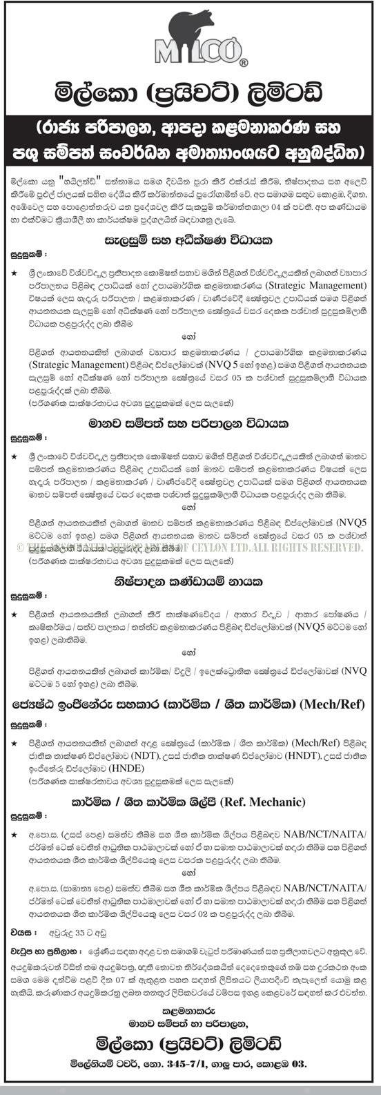 Vacancies at Milco (Pvt) Ltd