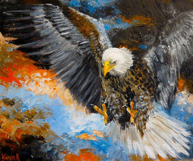 painting of a bald eagle in a stormy sky