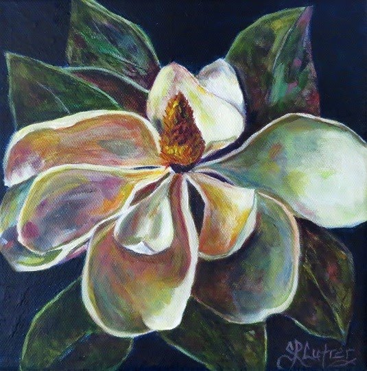 Southern Magnolia flower bloom original art in oils on canvas